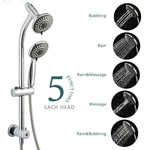 High Pressure Shower Head,HANMEIUS Shower Heads Handheld Combo 5 Shower spray 3 way shower head for Bathtub,Handheld Shower Head with Hose. (Shower Head Sliding Bar compare prices)