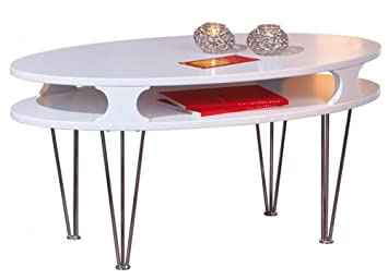Table basse coloris laqué blanc en MDF - Dim : 110 x 60 x 45 cm -PEGANE-