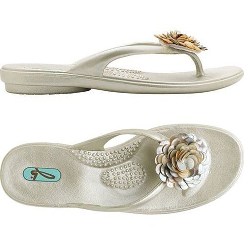 Lucy Thong Sandal with Seashell Chrysanthemum (two colors) - Pearl with Shell Flower - Medium (M)