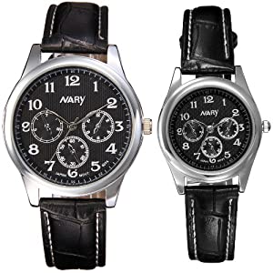 JewelryWe Couple's Watch Collector's Edition Black Surface & Black PU Leather Men Ladies Wrist Watches (One Pair)