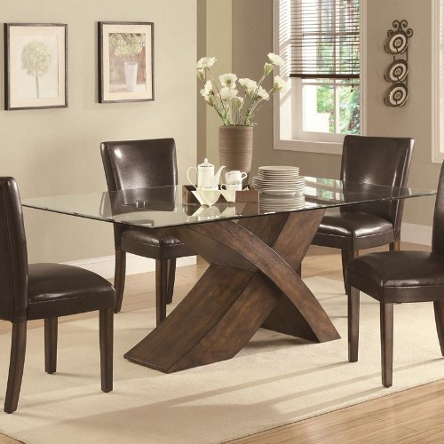 "Cheap Dining Table with Glass Top ""X"" Base Design in Deep Brown Finish (VF_103051)"