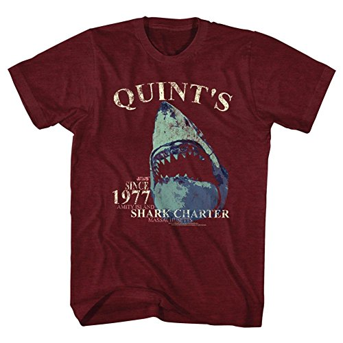 Official Jaws - Mens Quints Charter T-Shirt, X-Large, Cranberry Heather - S to XXL