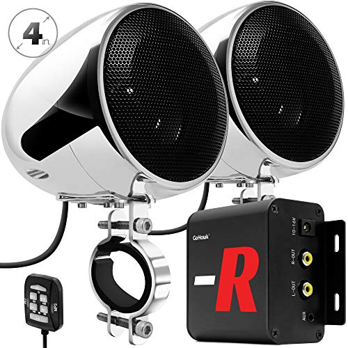 "GoHawk TN4-R Amplifier 4"" Full Range Waterproof Bluetooth Motorcycle Stereo Speakers 1 to 1.5 in. Handlebar Mount Audio Amp System Harley Touring Cruiser ATV UTV RZR, AUX, FM Radio (TN4-R Chrome)"