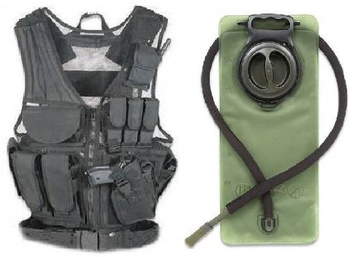 Ultimate Arms Gear Stealth Black Lightweight Edition Tactical Scenario Military-Hunting Assault Vest w/ Right Handed Quick Draw Pistol Holster + OD Olive Drab Green 2.5 Liter / 84 oz. Replacement Hydration Backpack Water Bladder Reservoir - Includes Hosi кашпо подвесное плетеное keter