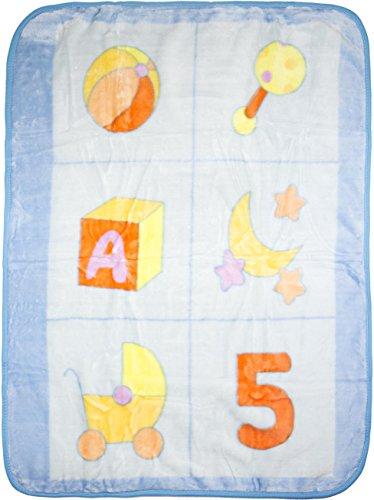 BIG OSHI Baby Fuzzy Plush Blanket - BLP-78 - Blue, Large