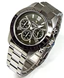 ダンクラーク DON CLARK クロノグラフ メンズ腕時計 ダイヤモンド入り ブラックダイヤル レザーブレスSET DM-2051-07S [並行輸入品]