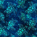 Totally Tropical Sea Turtles Batik Quilt Fabric By The Yard