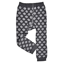 Me In Mind - Baby Girl Footless Tights - Polka Dots - Charcoal/Gray - Cute Knit Organic Leggings
