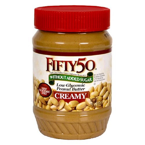 Fifty-50 Peanut Butter Creamy, Without Added Sugar, 18-Ounce Units (Pack of 6)