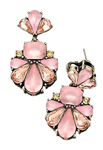 Translucent Stone and Crystal Statement Earrings Gold Burnished Tone Pink