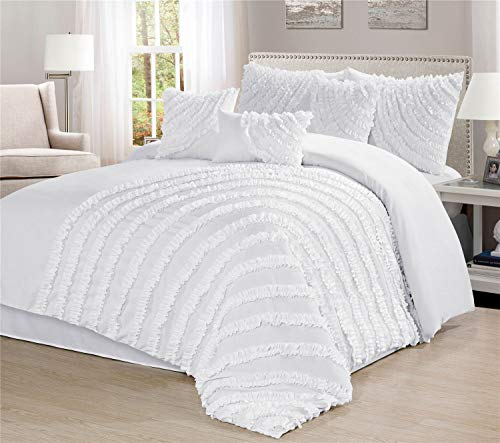 Townhouse Unique Home Hillary 7 Piece Comforter Set Bed in a Bag Bedding Comforter Duvet, Fade Resistance, Super Soft (Calking, White)