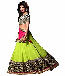 RockChin Fashions Green Embroidered Lahenga