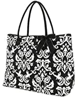 Belvah Extra Large Quilted Damask Print Tote Handbag - Choice of Colors