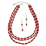 PammyJ Three Strand Dark Red Bead Necklace and Earrings Set