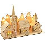 WeRChristmas-35-cm-Pre-Lit-Wooden-Church-and-Village-Scene-Christmas-Decoration-Illuminated-with-12-Warm-White-LED-Lights