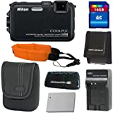 Nikon COOLPIX AW100 16 MP CMOS Waterproof Digital Camera with GPS and Full HD 1080p Video (Black) + EN-EL12 Replacement Battery (Generic) + 16GB Deluxe Accessory Kit