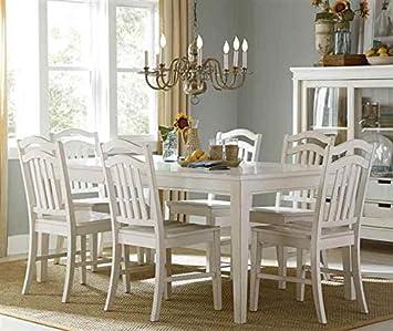 7-Pc Rectangular Dining Set in White Finish