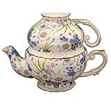 Gracie China by Coastline Imports Porcelain 3-Piece Tea Set for One, Blue/Violet