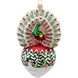 David Strand Kurt Adler Glass Proud Peacock Snowfall Ornament, 6.5-Inch