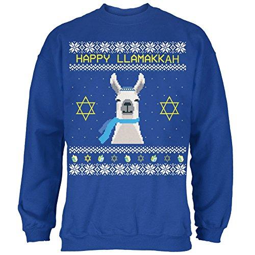 Llama Llamakkuh Ugly Hanukkah Sweater Royal Adult Sweatshirt - Medium