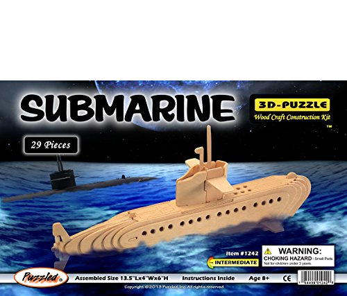 3-D Wooden Puzzle - Submarine Model -Affordable Gift for your Little One! Item #DCHI-WPZ-P042