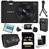 Sony DSC-WX350/B DSC-WX350 WX350 WX350B WX350/B DSCWX350B 18 MP Digital Camera with 20x Optical Image Stabilized Zoom and 3-Inch LCD (Black) 16GB Bundle with 16GB SDHC Card, Spare Battery, Rapid External Charger, Case, SD Card Reader + More