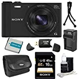 Sony DSC-WX300/B DSC-WX300 WX300 WX300B WX300/B DSCWX300B 18 MP Digital Camera with 20x Optical Image Stabilized Zoom and 3-Inch LCD (Black) 32GB Bundle with 32GB SDHC Card, Spare Battery, Rapid External Charger, Case, SD Card Reader + More