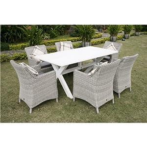 Leisuregrow hanoi 180cm x 90cm rectangular dining set with for Outdoor furniture amazon