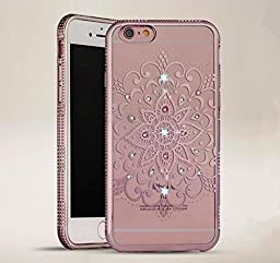 iPhone 6 Case,Inspirationc® Bling Rhinestone Clear Rubber Plating Frame TPU Soft Silicone Bumper Case Cover for iPhone 6/6S 4.7 Inch--YIMI Rose Gold