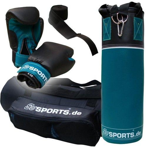 ScSPORTS Jugendliche Boxhandschuhe Boxbandagen Tasche, petrol/schwarz, 5,5 kg