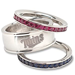 MLB Minnesota Twins Logo Crystal Stacked Ring Set (Size 8) by Logo Art