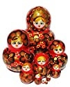 Flowers Nesting Doll 10-pc 5.5H in Red Gold Flowers