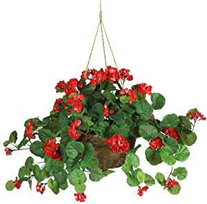 Nearly Natural 6609-RD Geranium Hanging Basket Decorative Silk Plant, Red