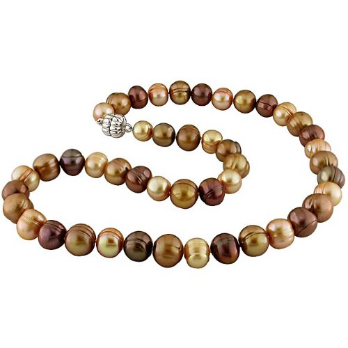 New York Pearls Sterling Silver Multi-color Pearls Brown FW Pearl Necklace ...