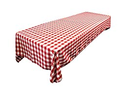 LA Linen™ 60 by 102-Inch Polyester Gingham Checkered Rectangular Tablecloth / Pack of 1 / White And Red.