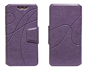 J Cover Oscar Series Leather Pouch Flip Case With Silicon Holder For Panasonic P31 Purple