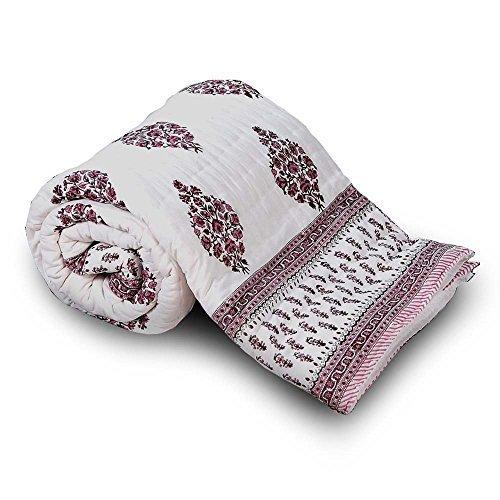 Jaipuri Floral bloque de mano Little India algodón de funda de edredón para cama individual marrón