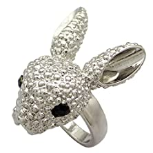 buy Q&Q Fashion Alice In Wonderland Silver March Hare Rabbit Black Eye Crystal Tea Party Finger Ring