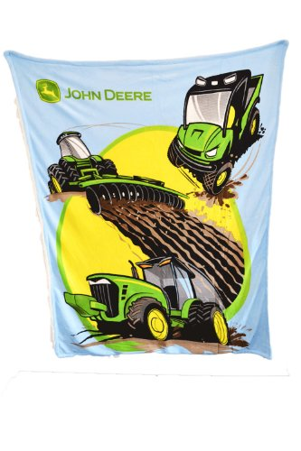 John Deere Tractors And More Thick Sherpa And Fleece Blue Blanket