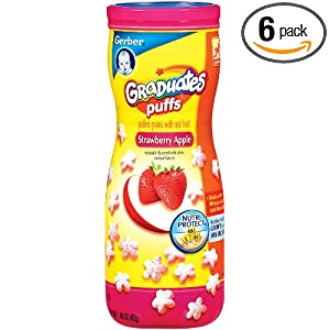 Gerber Graduates Strawberry & Apple Puffs, 1.48-Ounce Canisters (Pack of 6)