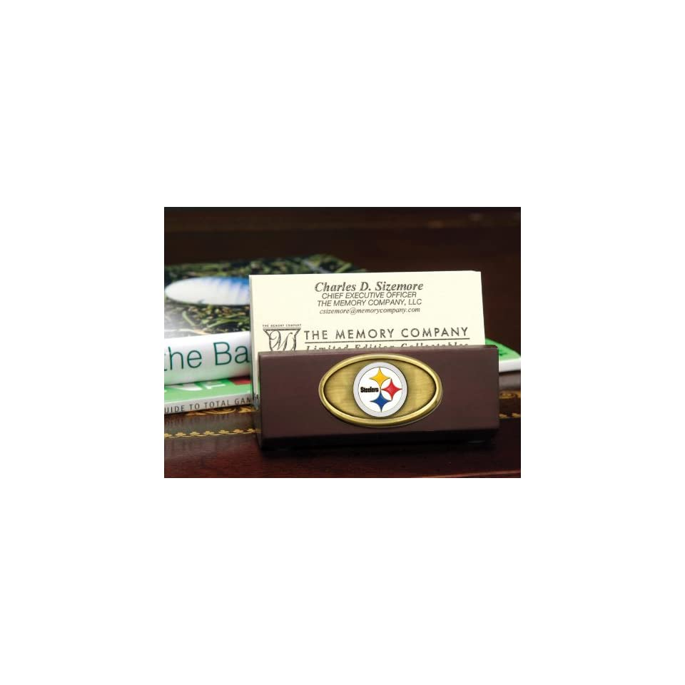 PITTSBURGH STEELERS Team Logo Medallion BUSINESS CARD HOLDER (3.5 Wide x 1.75 Tall)