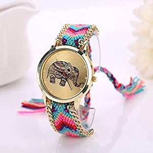 Tongshi 1 PC Mujeres de la Manera del Regalo del Modelo Elefante Cuerda Teje Band Pulsera de Cuarzo Esfera de un Reloj (Azaul+Rose) por Bocideal-affaire
