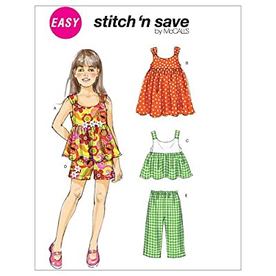 McCall's Patterns M6305 Toddlers'/Children's Tops, Dress, Shorts and Pants, Size A (1-2-3-4-5-6)