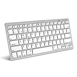 Caseflex Ultra Slim Wireless Bluetooth Keyboard For All iOS, iPad, Android, Mac, & Windows Devices - Silver & White