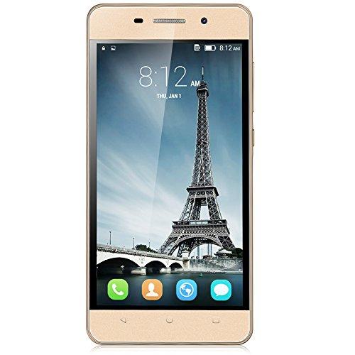 Padgene®3G Smartphone Débloqué 5,0'' IPS Ecran Dual Core 4 Go Android 4.4.4 Kitkat Dual SIM Dual Caméras Support Multi-Langues, Or