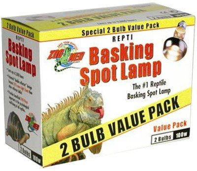 Reptile Basking Spot Lamp - 100 Watts, 2 Bulb Value Pack