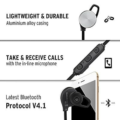 Etekcity S1 Wireless Bluetooth Earbuds V4.1: Built-in Microphone, Apt-X, CVC 6.0 Noise Cancellation, IPX4 Sweatproof Headphones Earphones (Aluminium Alloy) Black/Silver
