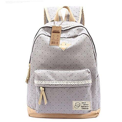G2Plus-Leichte-Schulrucksack-mit-Polka-Dots-Nette-Canvas-Schultaschen-Damen-Mdchen-EXTRA-Gro-Kinderrucksack-Daypacks-Ruckscke-Modische-mit-Laptop-Fach-28-42-13-cm-Little-Princess-Grau-1