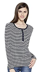 Sera Women's Top (LA2288-Navy-L, Blue and White, Large)