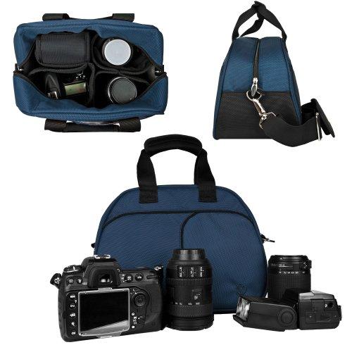 Vangoddy Mythra Blue Medium Entry Level Canon DSLR and SLR Camera Bag For Canon EOS Rebel T3 T3i 12 2 MP 18 MP Canon EOS Rebel T2i 18 MP CMOS APS C Canon EOS Rebel T1i 15 1 MP CMOS Canon EOS 60D CMOS Canon EOS 7D CMOS Canon EOS 5D Mark II Mark 2 Full Frame